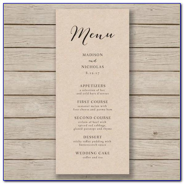 Free Rustic Wedding Menu Templates