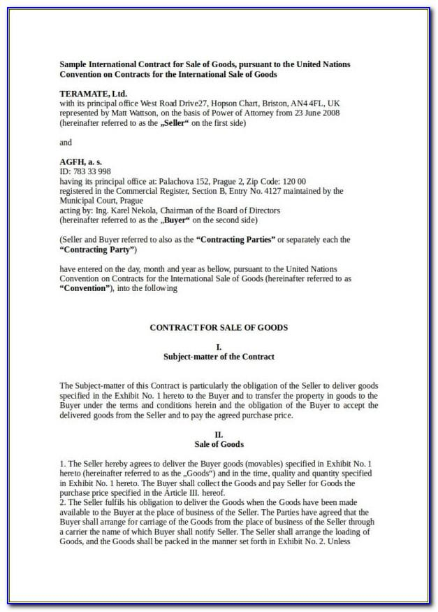 Free Sale Of Goods Contract Template Australia