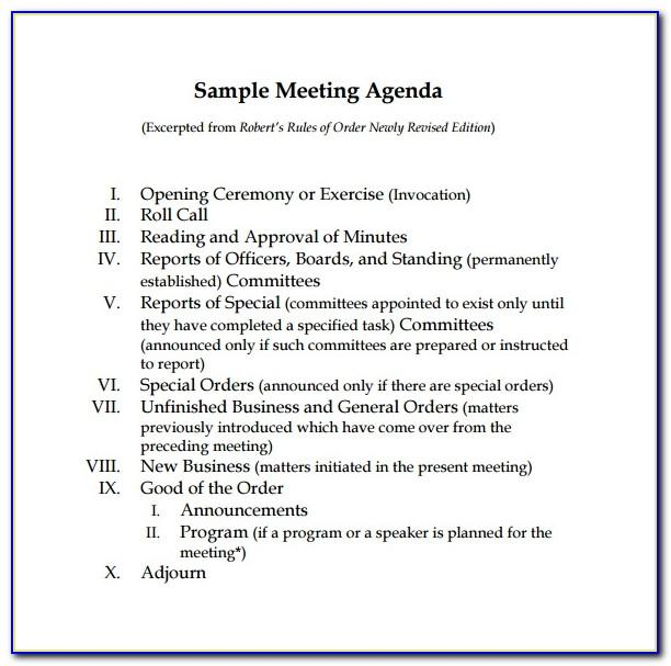 Free Sample Board Meeting Agenda Template