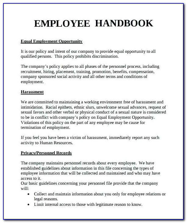 Free Sample Employee Handbook Template In Singapore