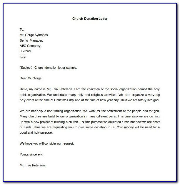 Free Sample Letter Requesting Donations For Church