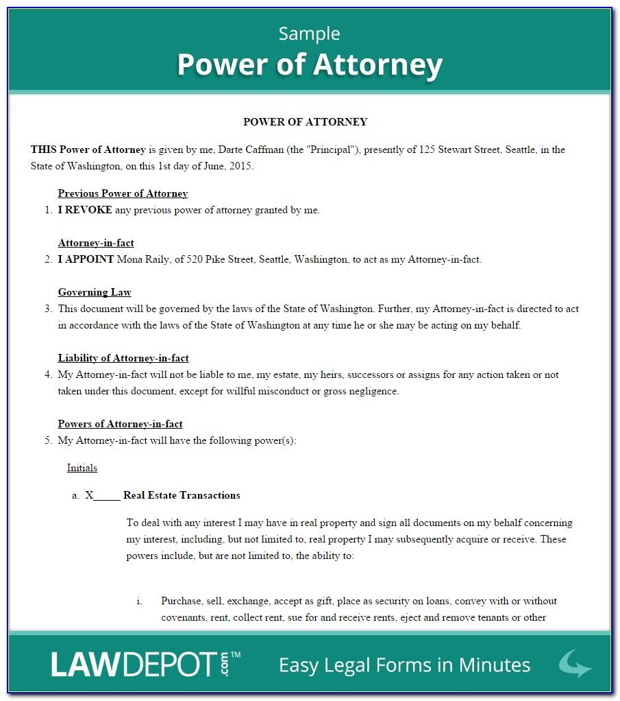 Free Sample Power Of Attorney Document