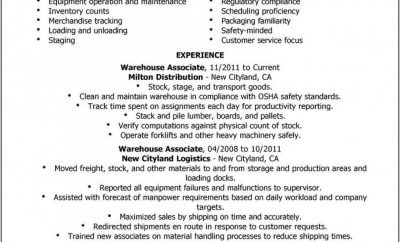 Free Sample Warehouse Worker Resume