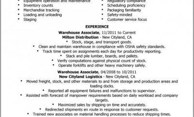Free Sample Warehouse Worker Resume