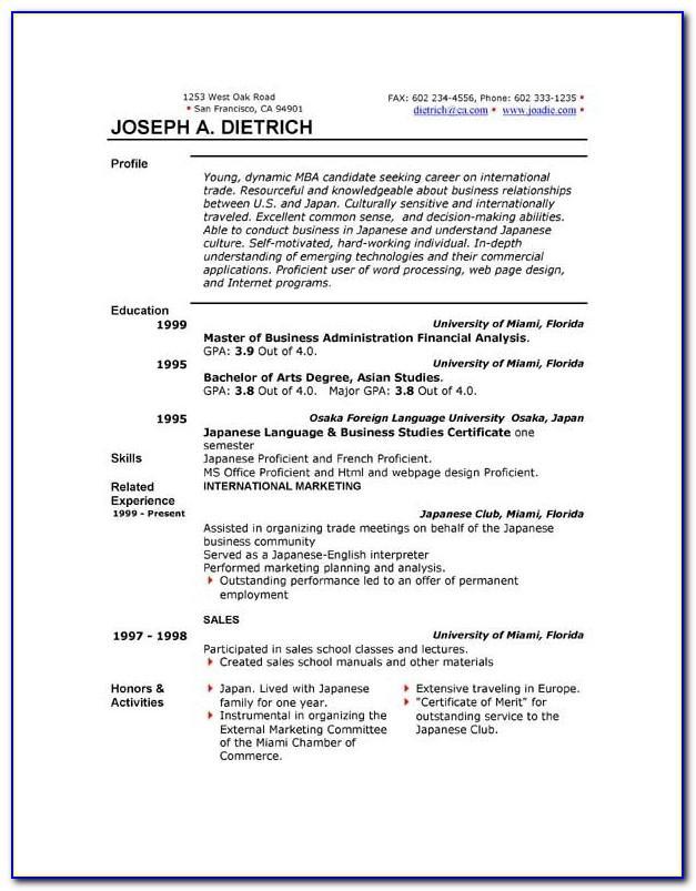 Functional Resume Template Word 2010