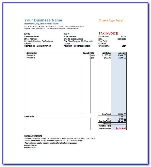 Gst Retail Invoice Format Excel