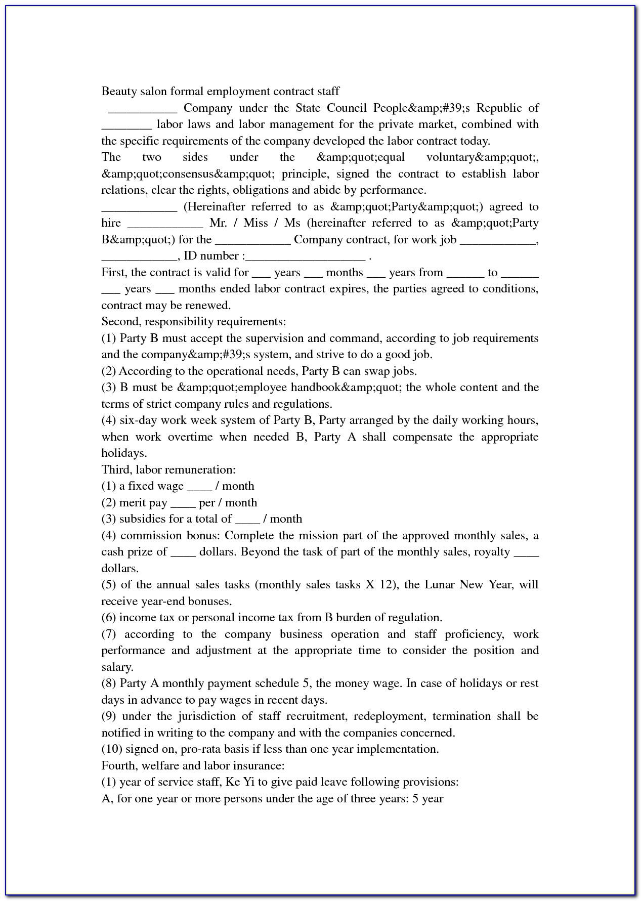 Hair Salon Employee Contract Templates