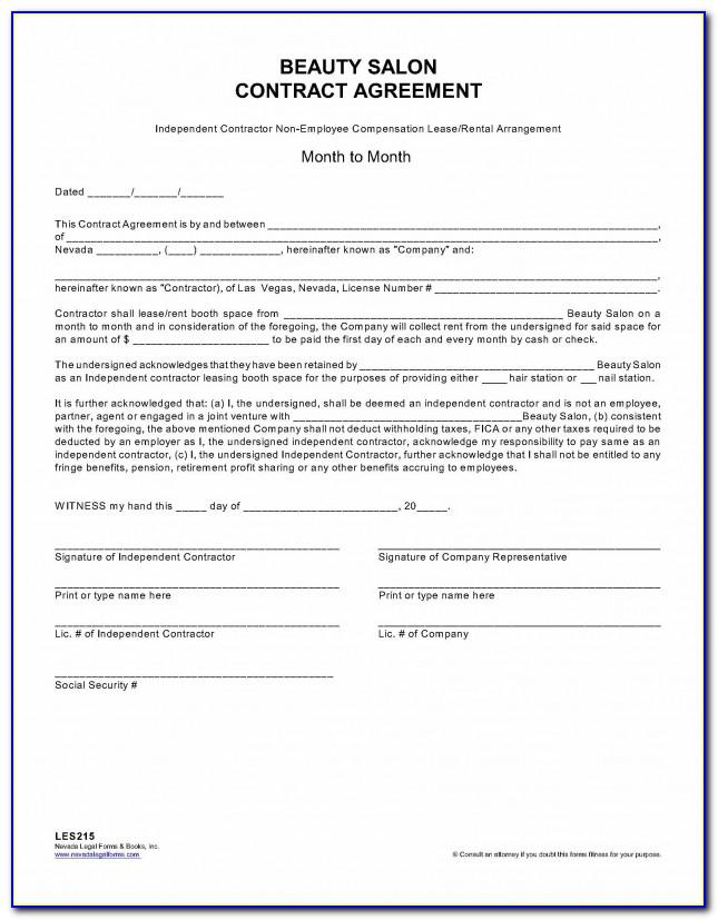 Hair Salon Employment Contract Sample