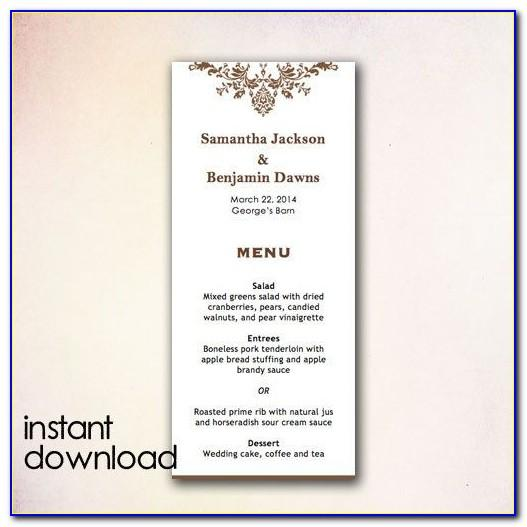 Homemade Dinner Menu Template