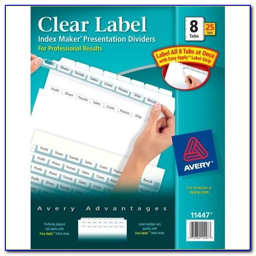 Index Maker Clear Label Dividers 8 Tab Template