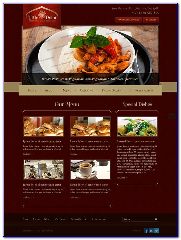 Indian Restaurant Website Templates Free