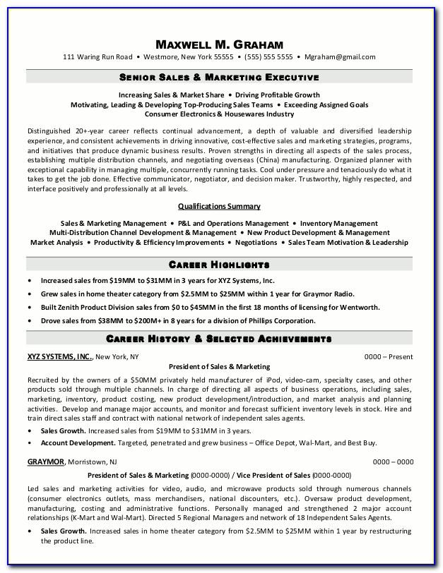 Indian Sales Manager Resume Format