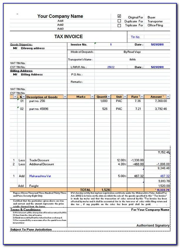Indian Sales Tax Invoice Format In Excel