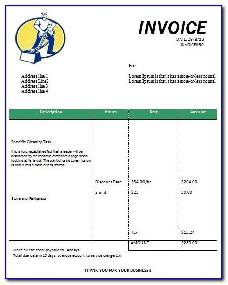 Invoice Template For Professional Services Rendered