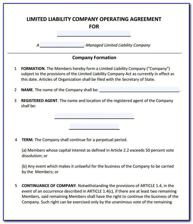 Llc Operating Agreement Template Free Download