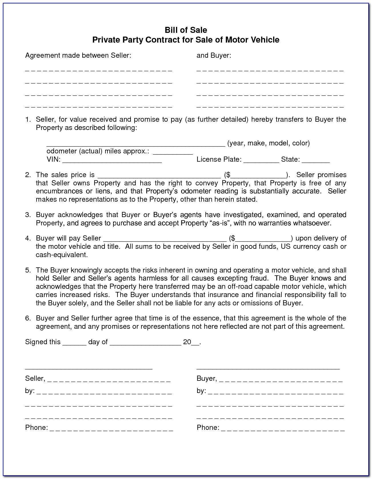 Motorcycle Sale Contract Template Uk
