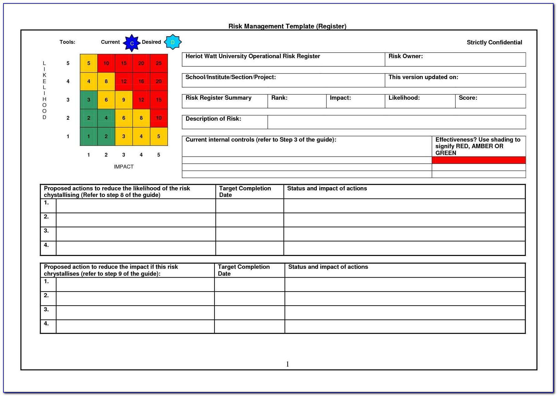 Operational Risk Assessment Template Xls