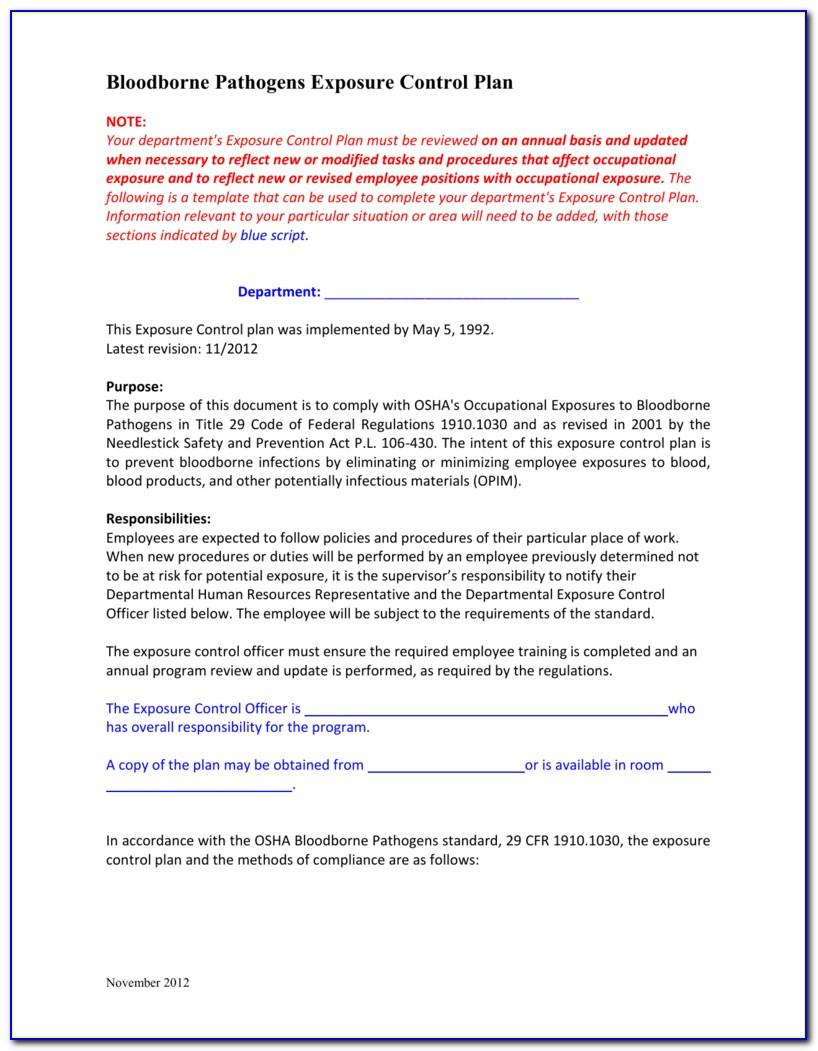 Osha Bloodborne Pathogens Policy Template