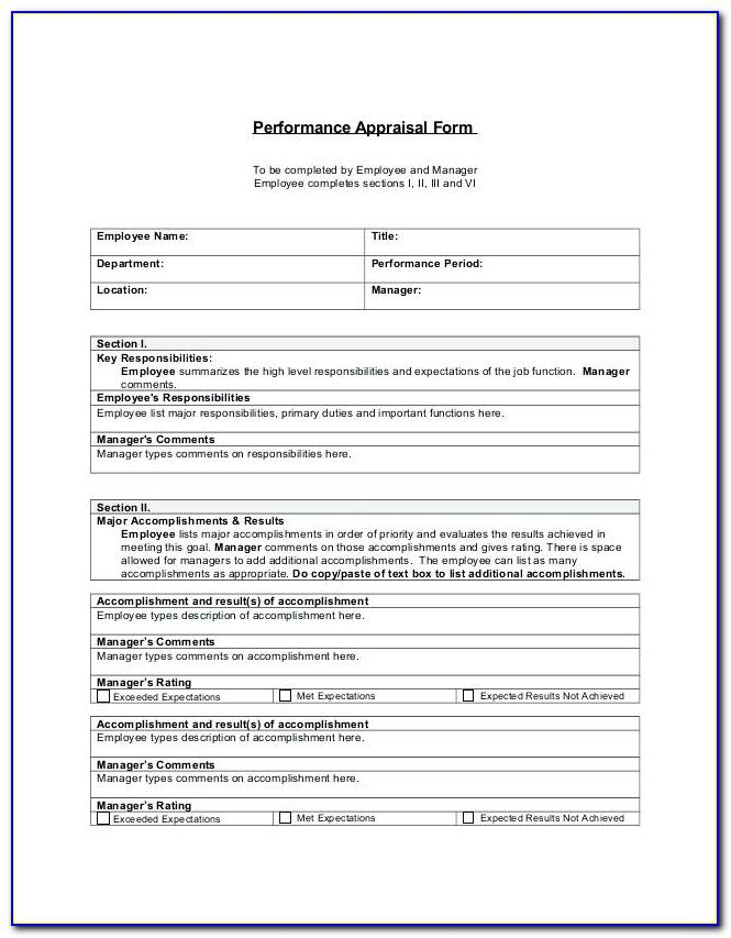 Performance Appraisal Template Word Uk