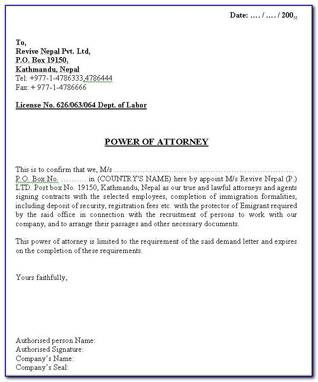 Power Of Attorney Letter Sample Authorization India