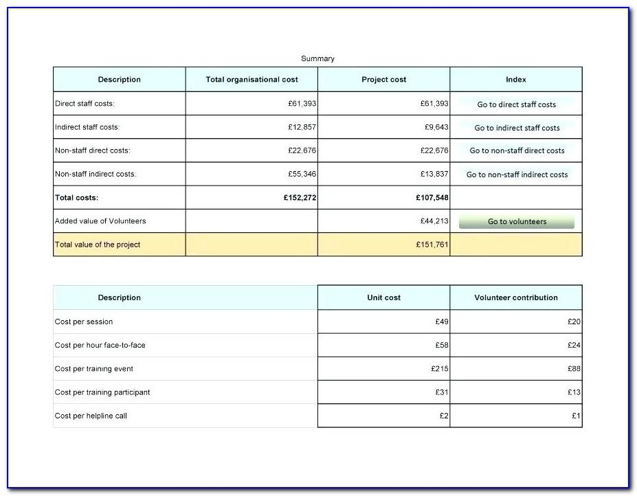 Project Costing Template Excel Free