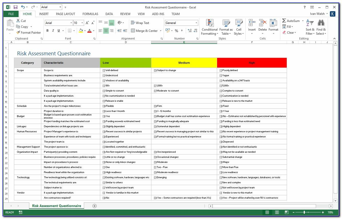 Project Risk Management Plan Template Excel Free