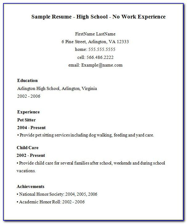 Resume Examples With No Work Experience High School Student