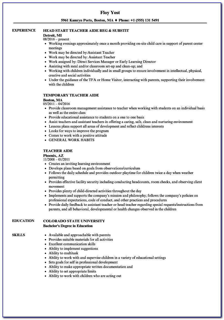 Resume Template For Teachers Aide Australia