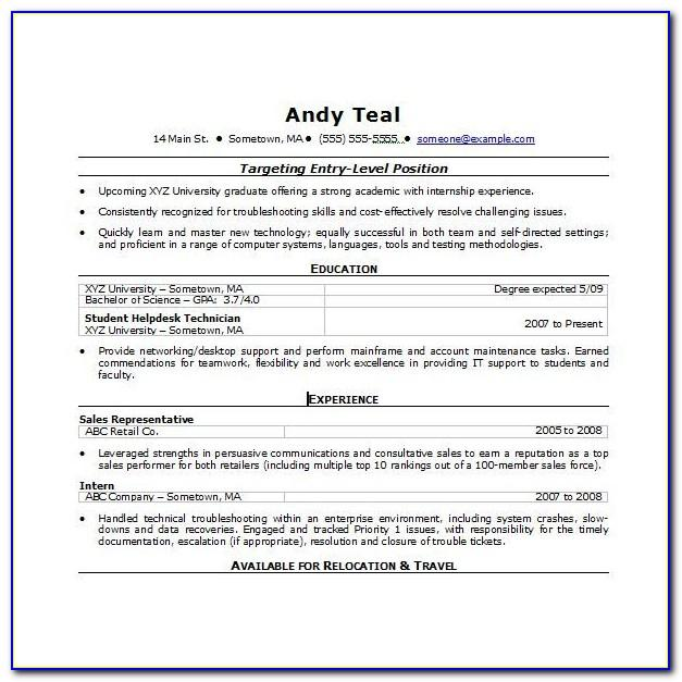 Resume Template Word 2007 Free