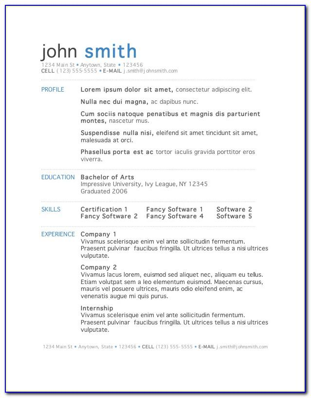 Resume Template Word 2015