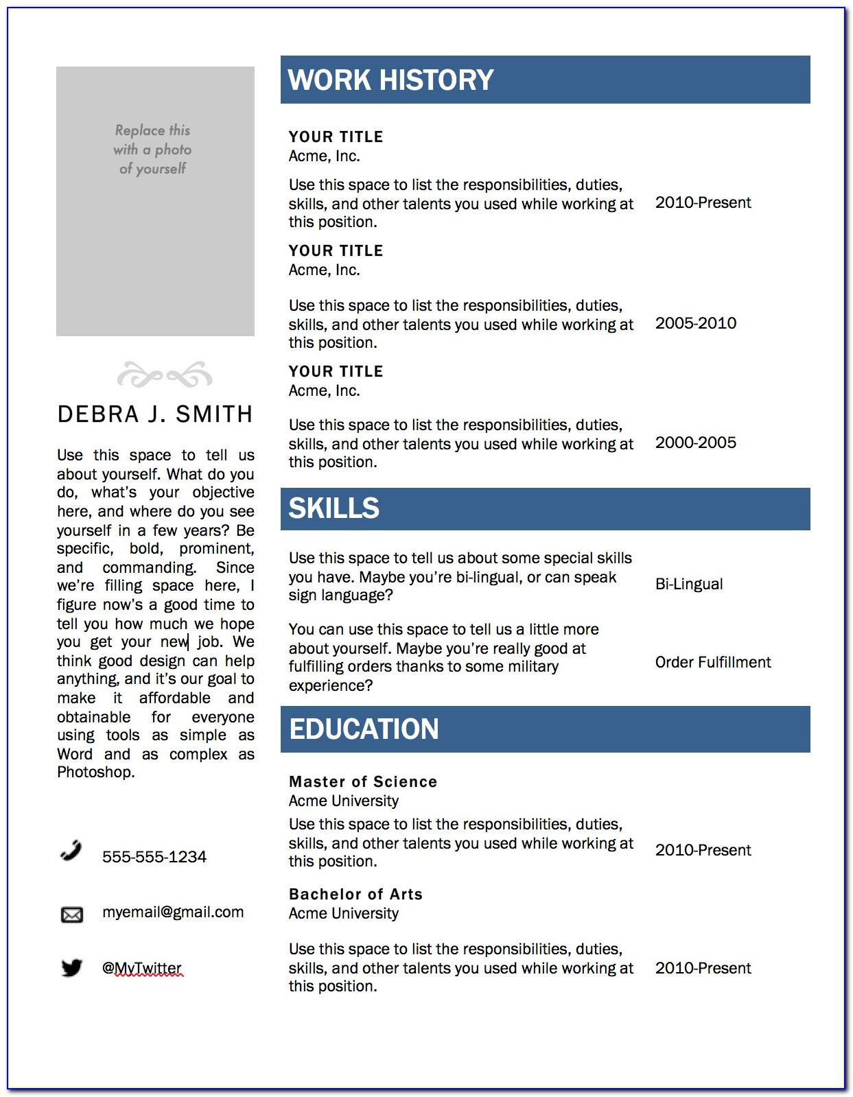 Resume Templates For Word 2010 Free
