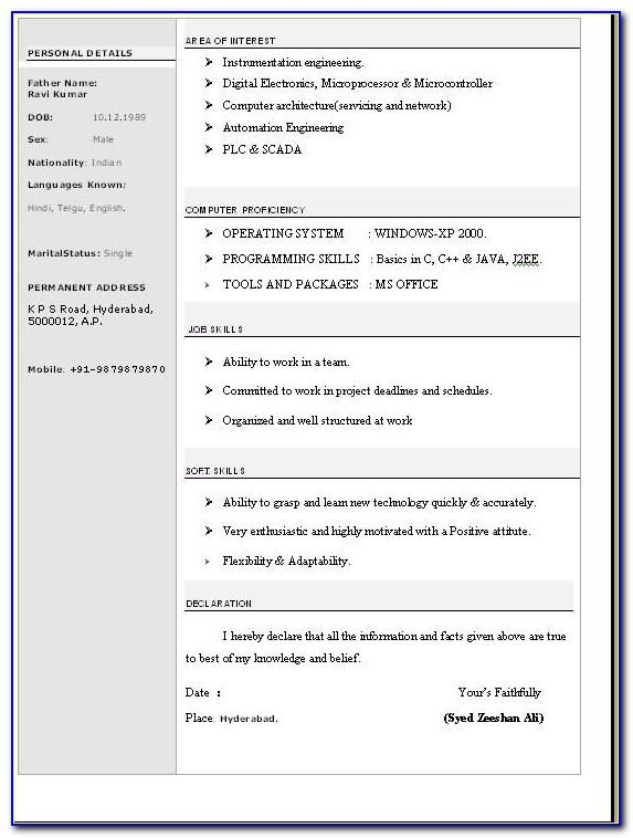 Resume Templates Free Download Word Document