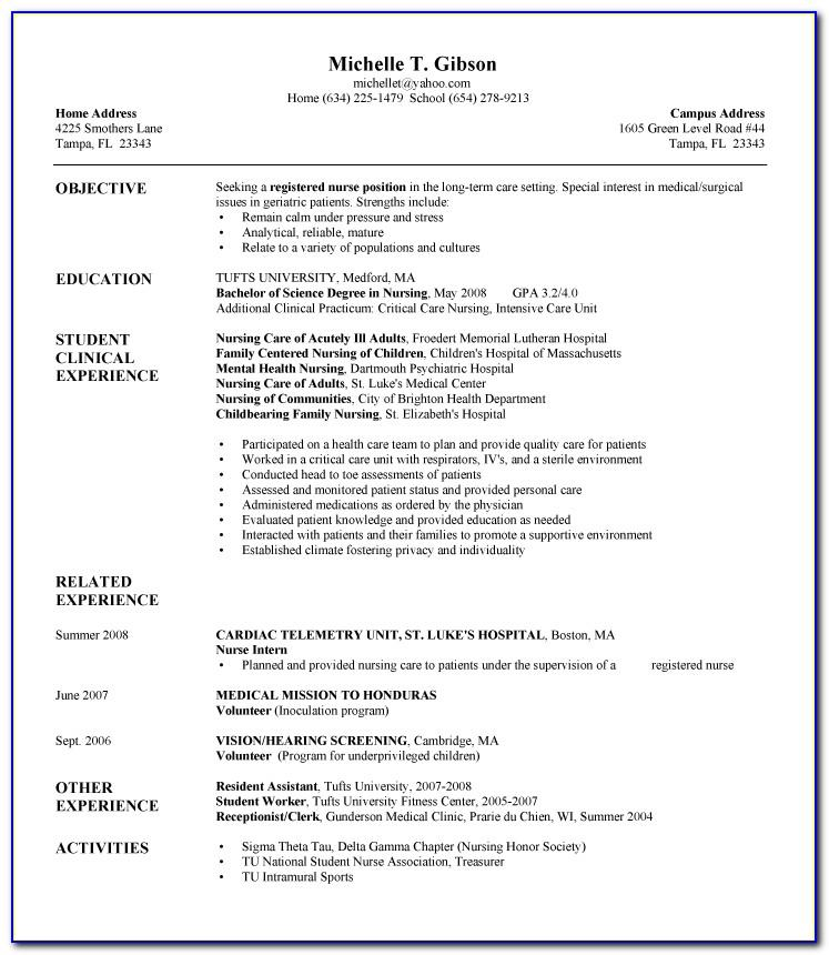 Resume Templates Registered Nurse Free