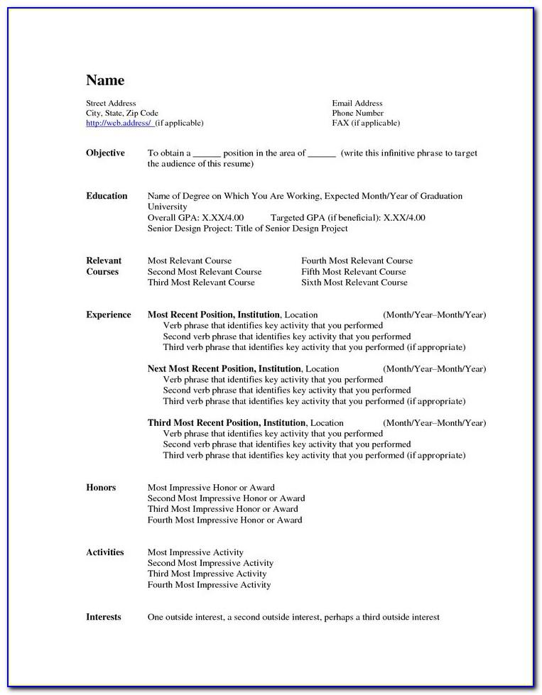 Resume Templates Word 2007 Microsoft
