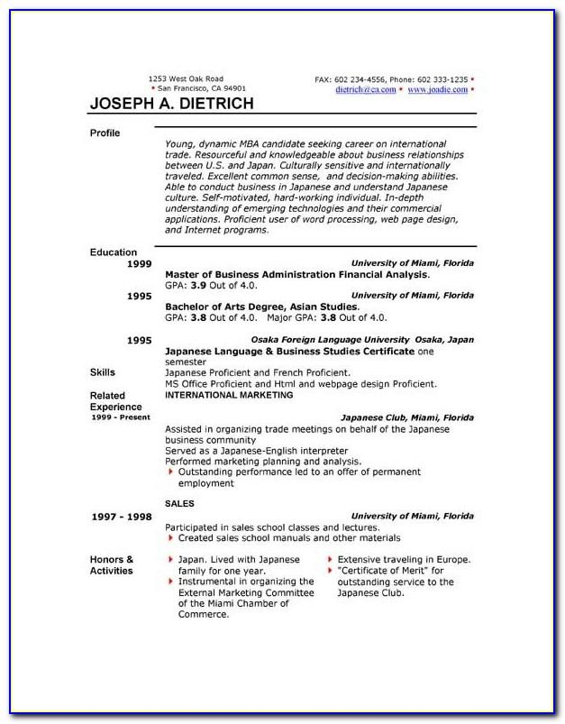 Resume Templates Word 2010 Free