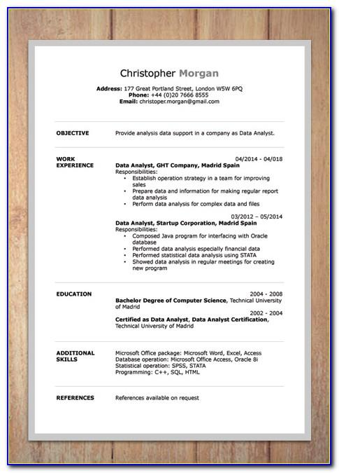 Resume Templates Word Docx