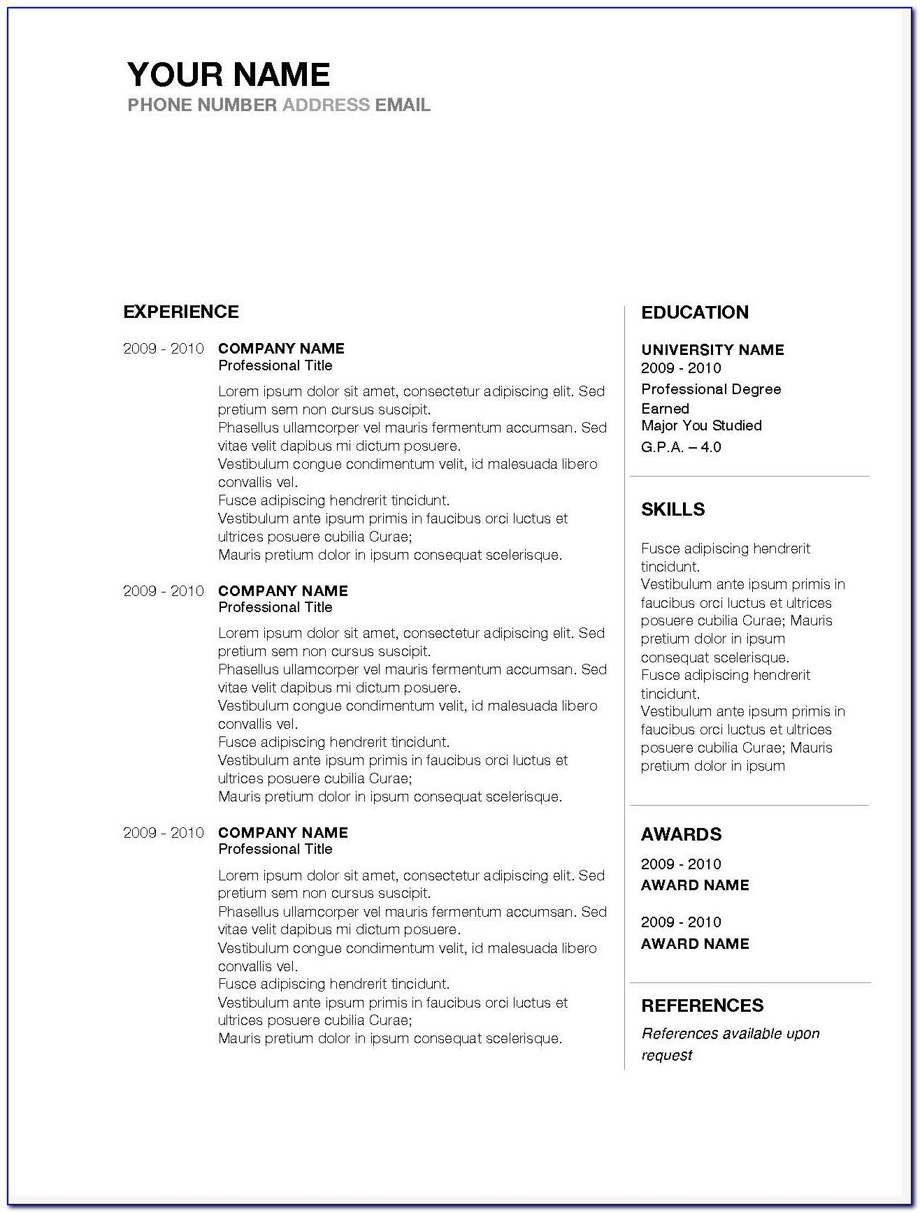 Resume Templates Word Mac 2010