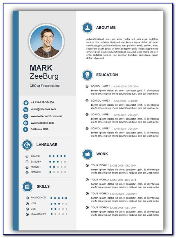 Resume With Photo Template Word