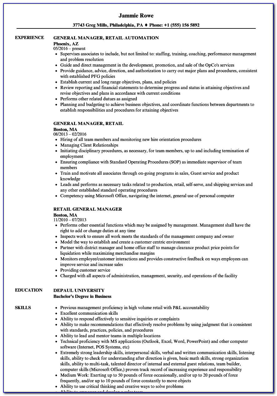 Retail Assistant Manager Resume Sample