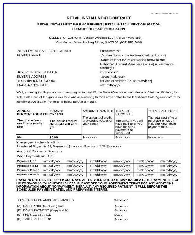 Retail Installment Sale Contract Simple Finance Charge Template