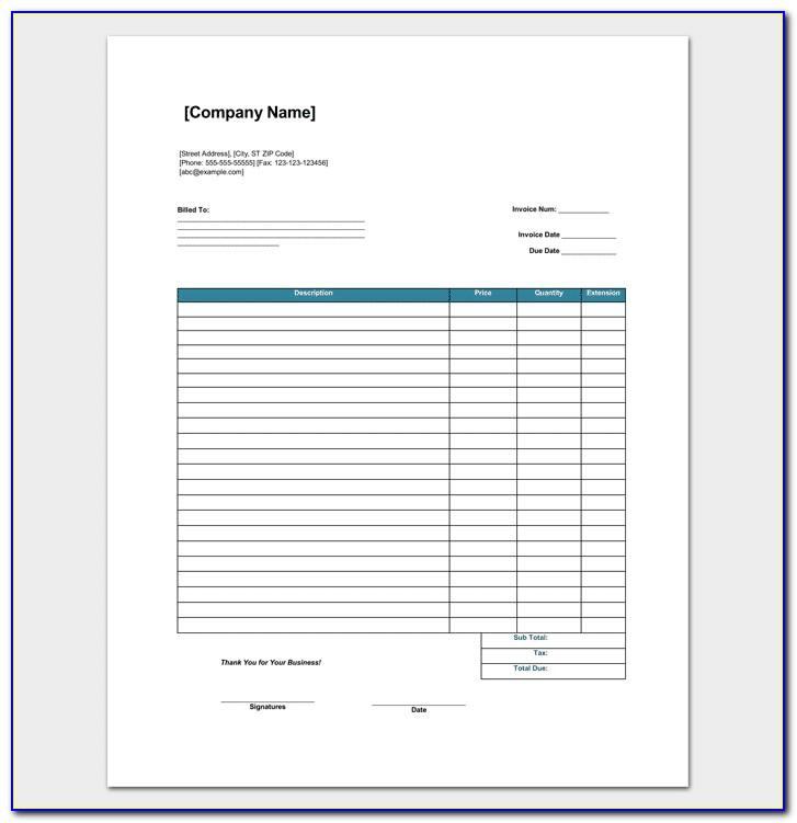 Retail Invoice Format In Excel Sheet Free Download India