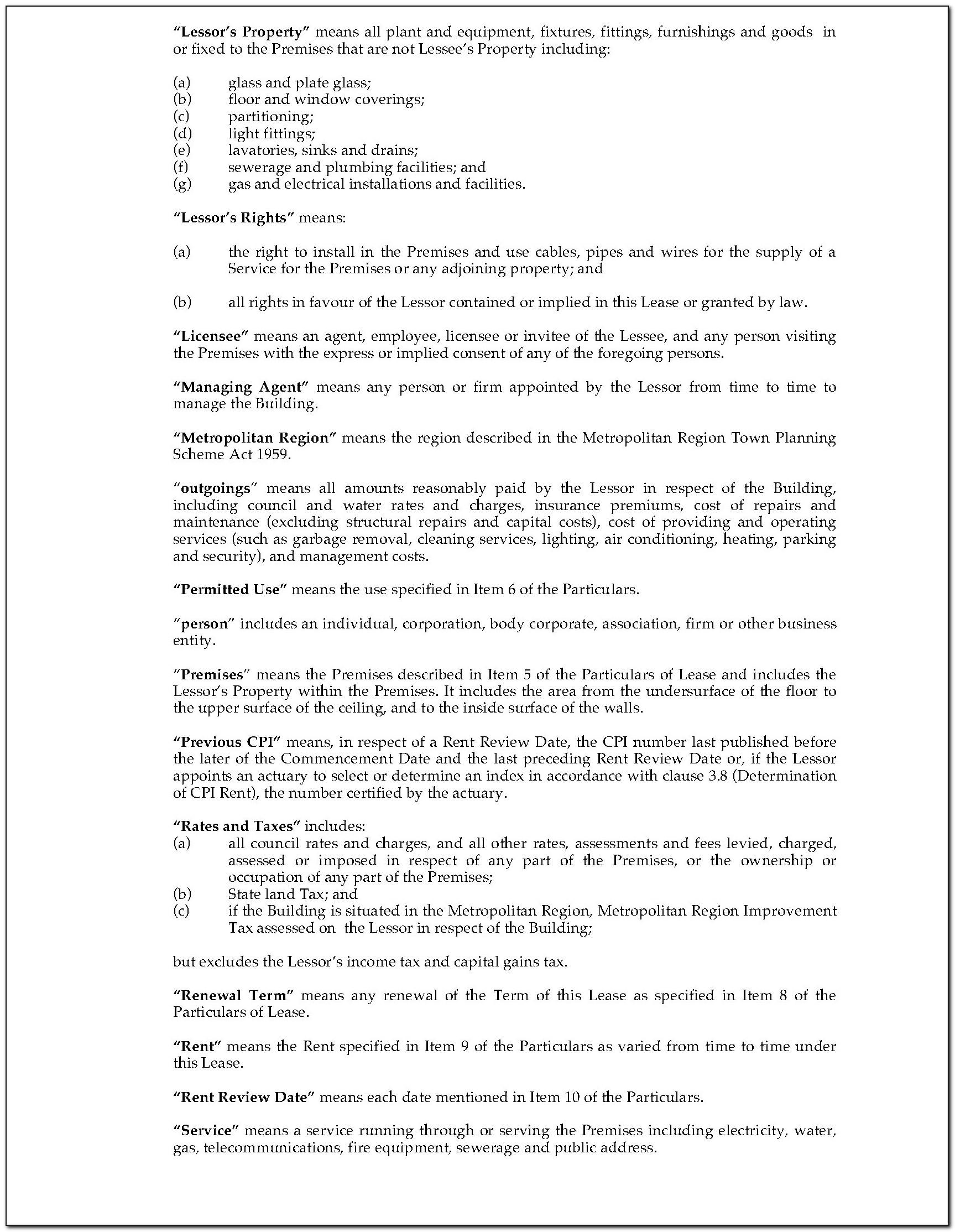 Retail Lease Agreement Form Nsw