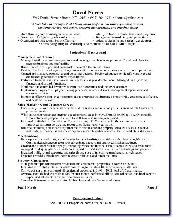Retail Manager Cv Format