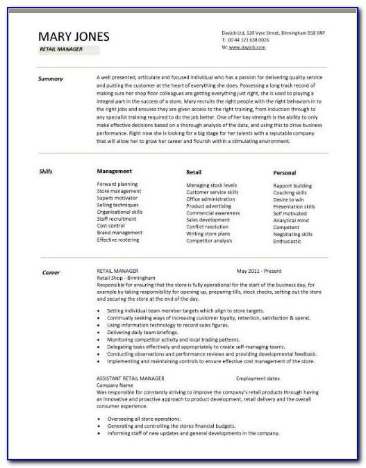 Retail Manager Resume Format
