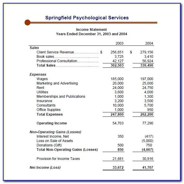 Retained Earnings Statement Template Excel