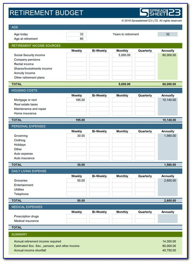 Retirement Budget Template Excel