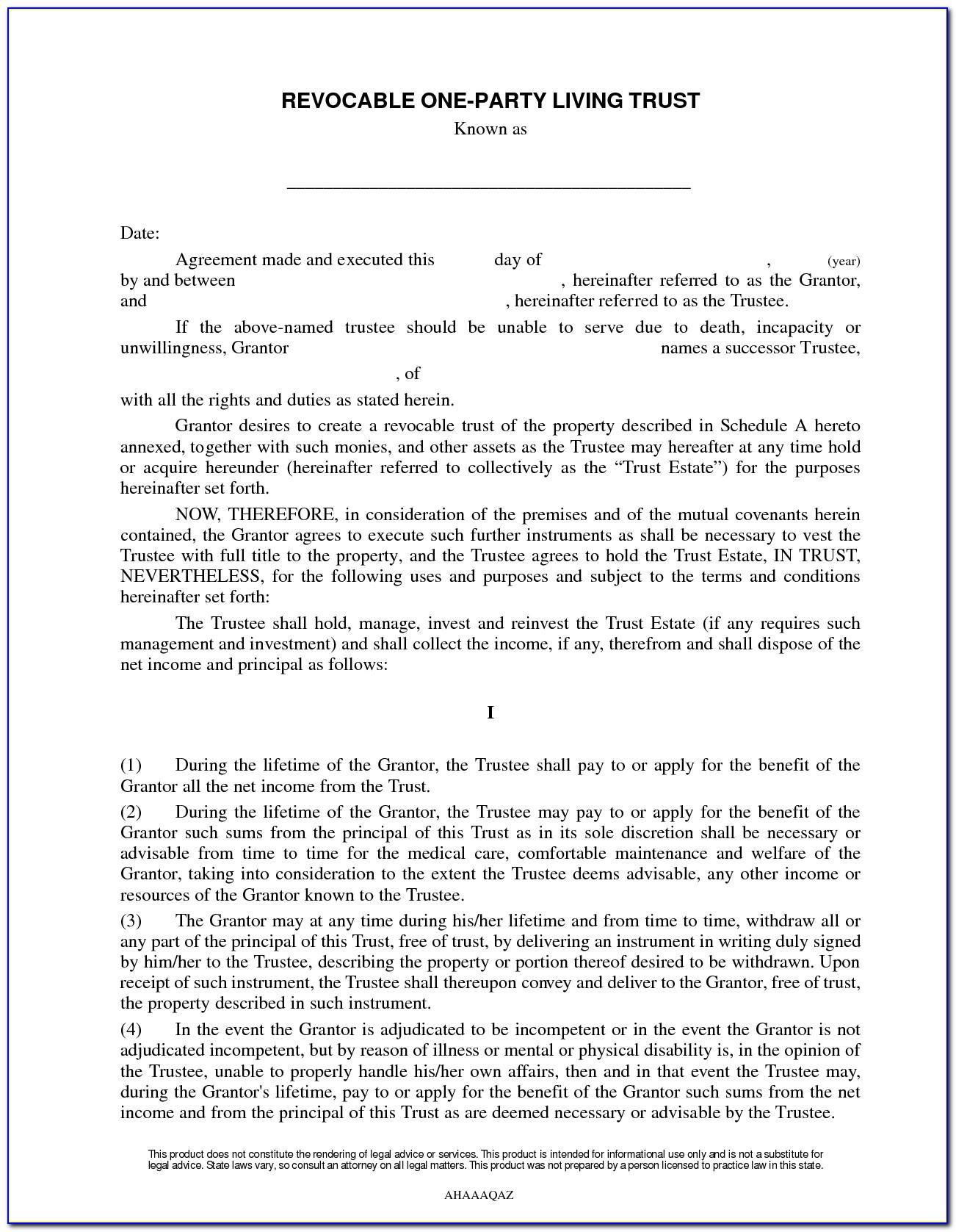 Revocable Living Trust Agreement For An Individual