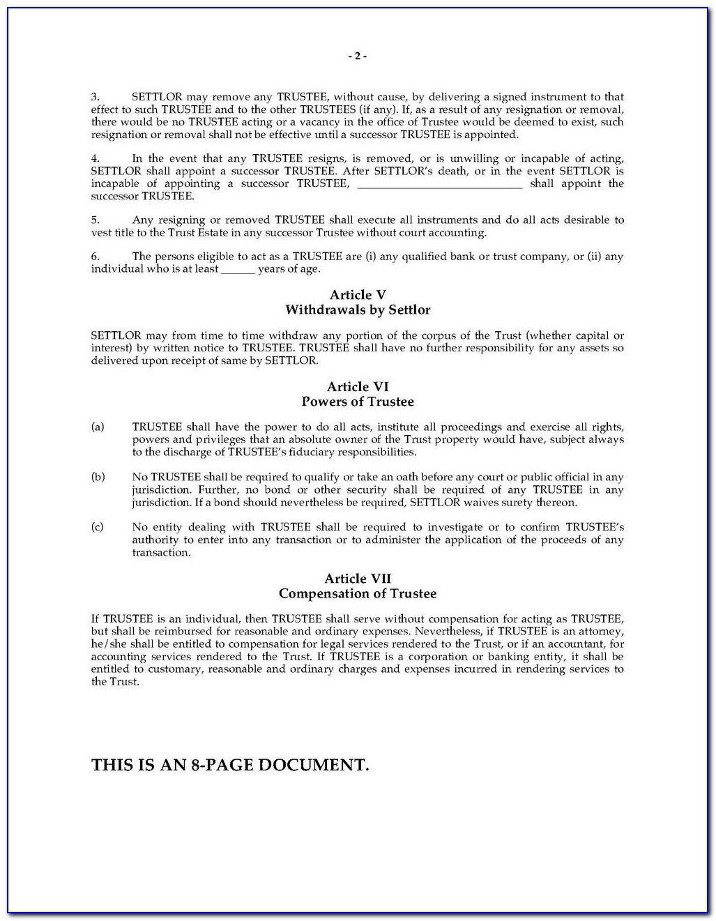 Revocable Living Trust Agreement Sample