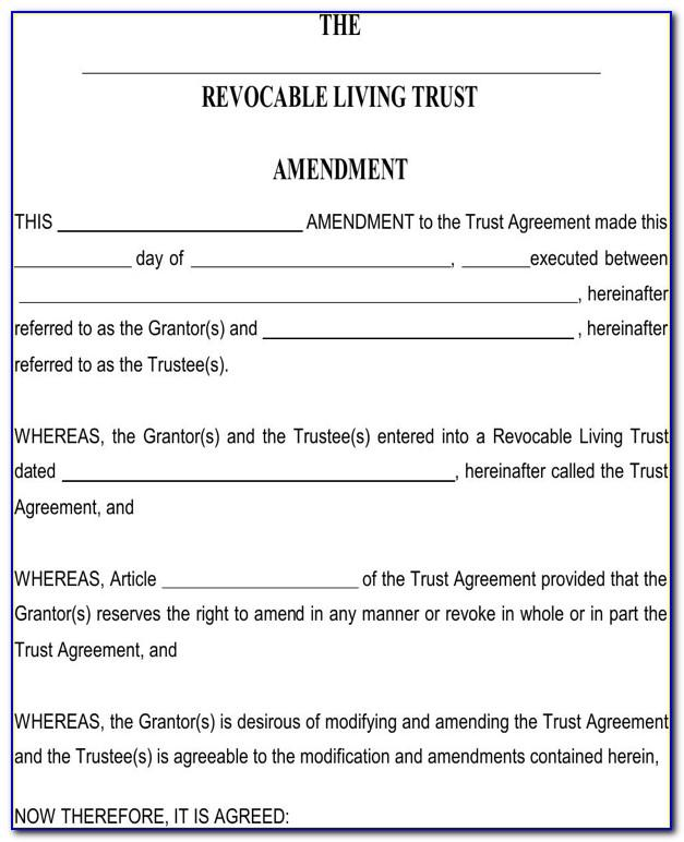 Revocable Living Trust Amendment Forms Free Download