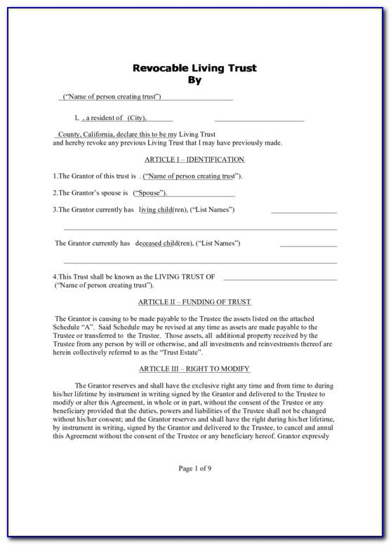 Revocable Living Trust Form For Nevada